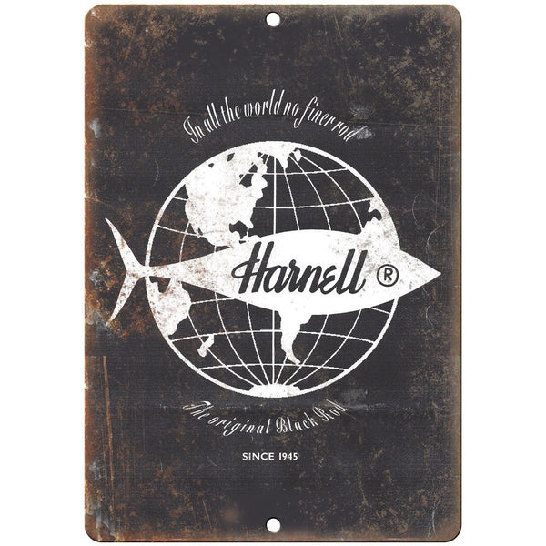 "Harnell Fishing Reel Logo Since 1945 10'"" x 7"" reproduction metal sign"