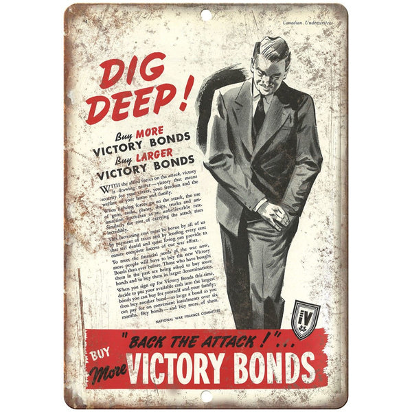 "Vcitory Bonds National War Finance Committee 10""x7"" Reproduction Metal Sign M41"