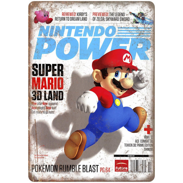 "Nintendo Power Super Mario 3D Land Cover 10"" x 7"" Reproduction Metal Sign G279"