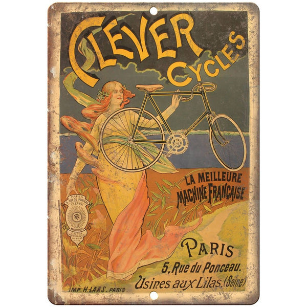 "Clever Cycles Paris Vintage Bicycle Ad 10"" x 7"" Reproduction Metal Sign B240"