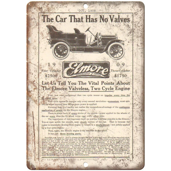"1908 - Elmore Car Company Vintage Ad - 10"" x 7"" Retro Metal Sign"