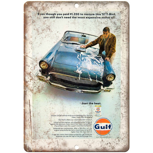 "1957 - Ford Thunderbird Gulf Oil Garage Sign - 10"" x 7"" Retro Look Metal Sign"