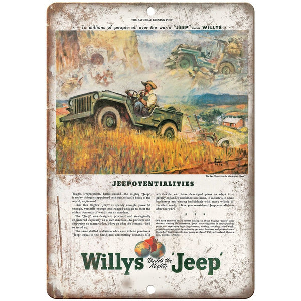 "1945 - Jeep Willys Overland Vintage Ad - 10"" x 7"" Reproduction Metal Sign"