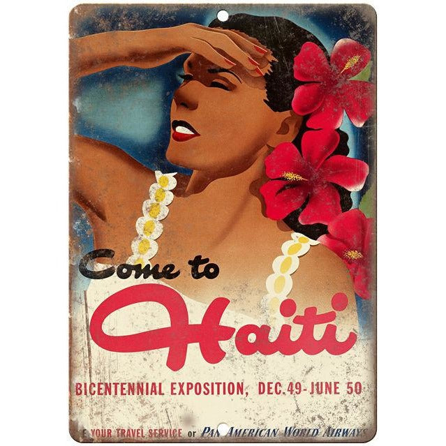 "Haiti vintage travel advertisment 10"" x 7"" reproduction metal sign"