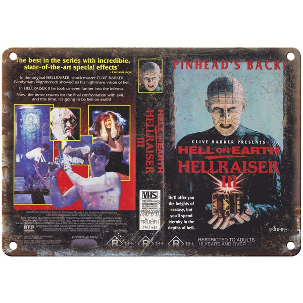 "Hellraiser III Pinhead VHS Box Art Triumph 10"" X 7"" Reproduction Metal Sign V37"