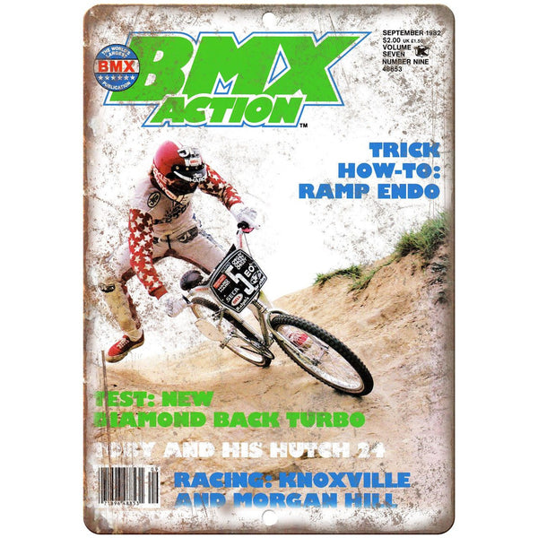"1982 BMX Action Magazine Cover Haro 10"" x 7"" Reproduction Metal Sign B467"