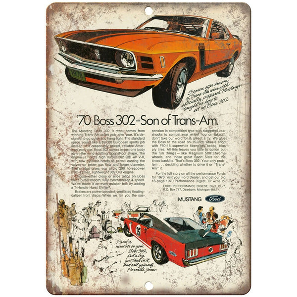"1970 - Ford Mustang Boss 302 Son of Trans-Am - 10"" x 7"" Retro Look Metal Sign"