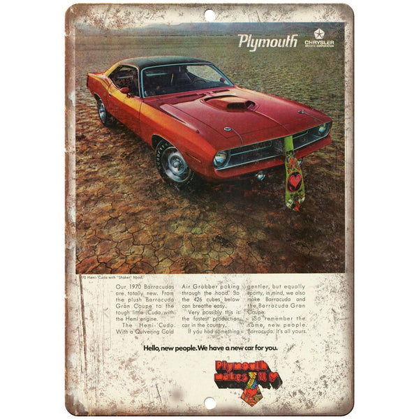 "1970 - Plymouth Barracuda 10"" x 7"" Reproduction Metal Sign"