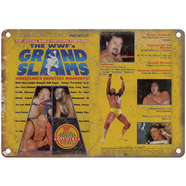 "WWF Grand Slams Andre The Giant Hulk Hogan 10"" x 7"" Reproduction Metal Sign"