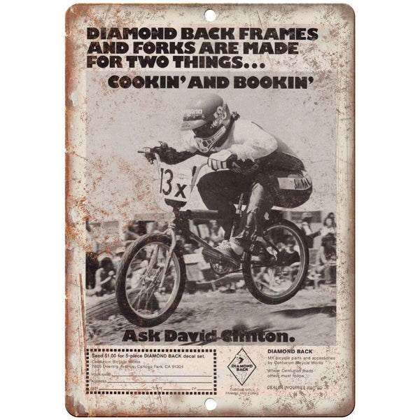 "Diamond Back Frames Vintage BMX Ad 10"" x 7"" Reproduction Metal Sign B04"