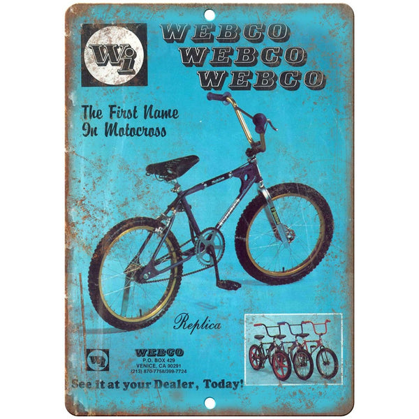 "1979 Webco BMX, Racing RARE Ad 10"" x 7"" Reproduction Metal Sign"
