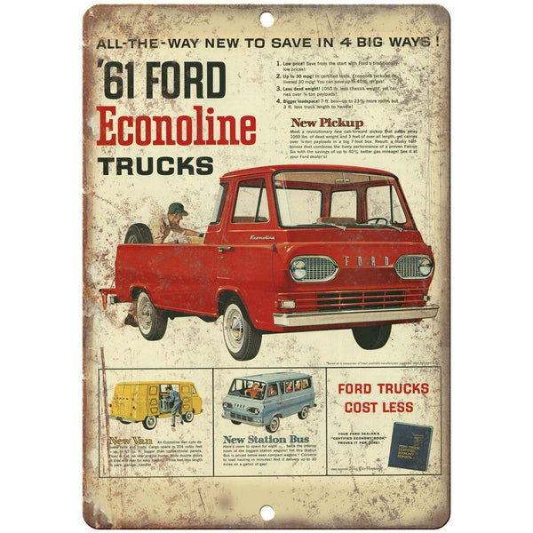 "1961 - Ford Ecoline Pickup Truck Ad Man Cave - 10"" x 7"" Retro Look Metal Sign"