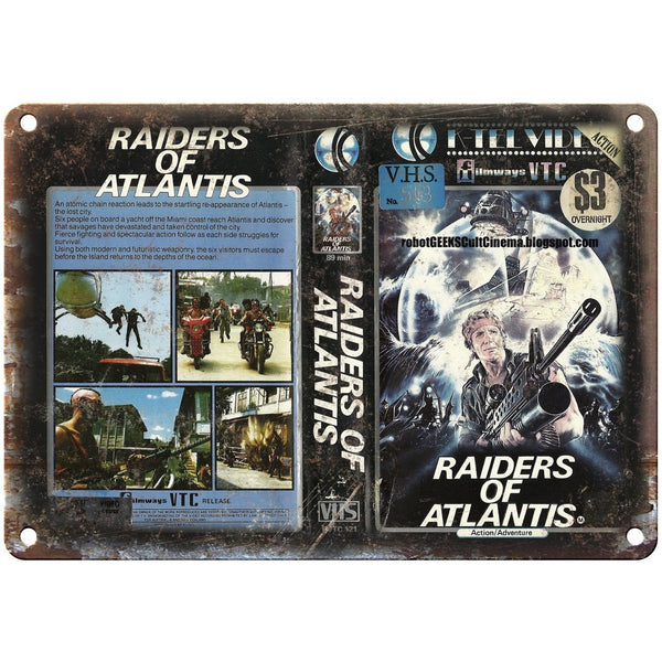 "Raiders of Atlantis Filmways VTC VHS Art 10"" X 7"" Reproduction Metal Sign V05"