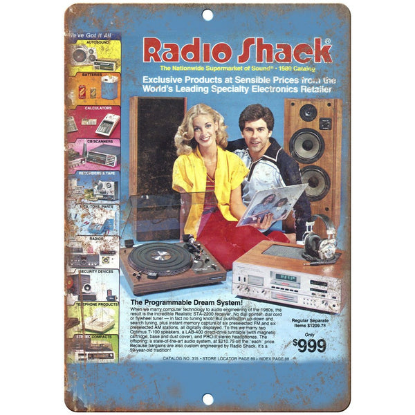 "Radio Shack 1980 Electronics Catalog Cover 10"" x 7"" Reproduction Metal Sign D35"