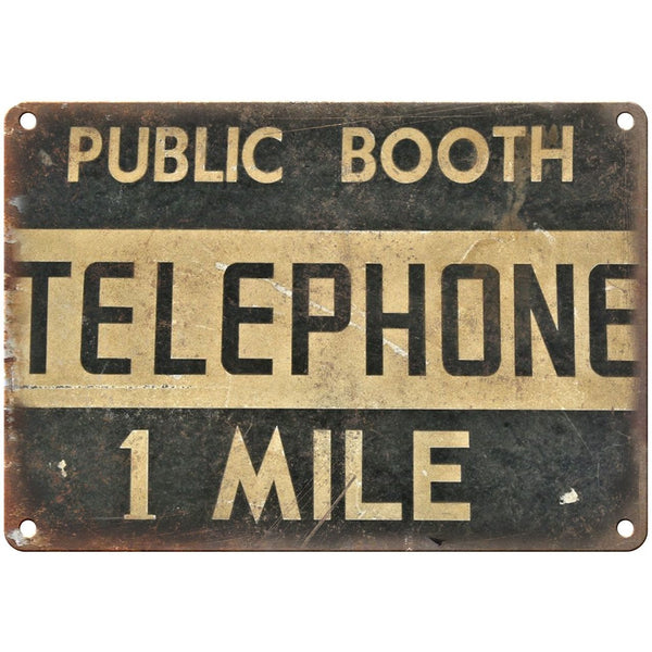 "Porcelain Look Public Telephone Booth 10"" x 7"" Retro Look Metal Sign"
