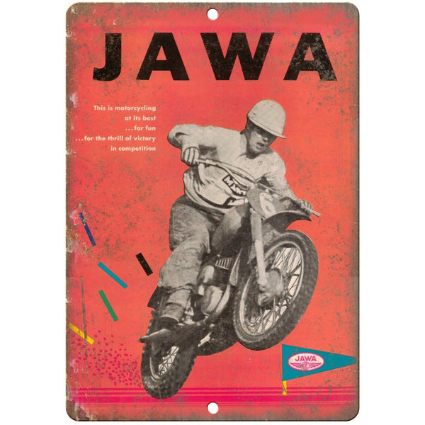 "JAWA Motorcycle Vintage Ad Racing 10"" x 7"" Reproduction Metal Sign A481"