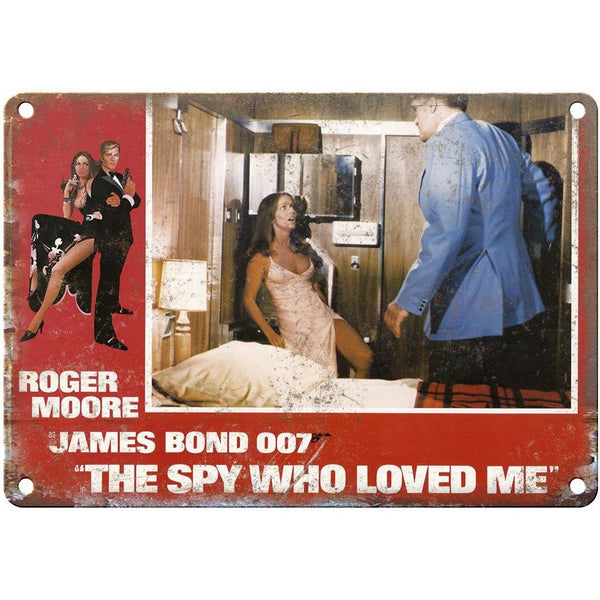 "James Bond, 007, The Spy Who Loved Me, Roger Moore 10"" x 7"" retro metal sign"