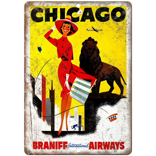 "Chicago Vintage Travel Poster Art 10"" x 7"" Reproduction Metal Sign T18"