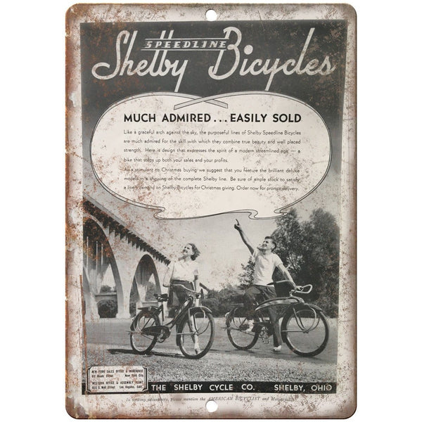 "Speedline Shelby Bicycle Co. Vintage Ad 10"" x 7"" Reproduction Metal Sign B257"