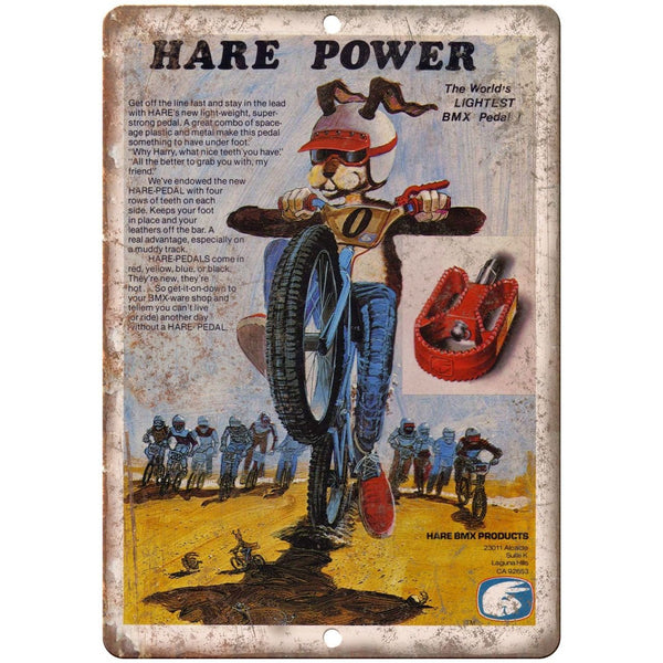 "10"" x 7"" Metal Sign - Hare BMX Pedals - Vintage Look Reproduction"