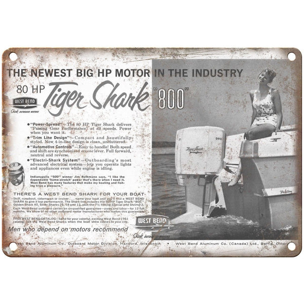"West Bend Outboard Motors Tiger Shark 800 Boat 10"" x 7"" Reproduction Metal Sign"