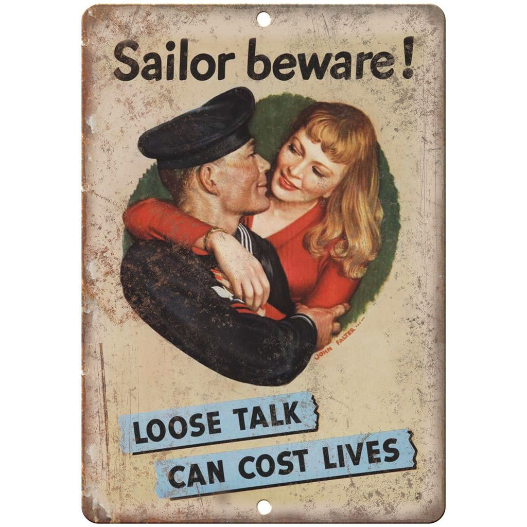 "Sailor Beware Loose Talk Cost Lives Poster 10"" x 7"" Reproduction Metal Sign M38"