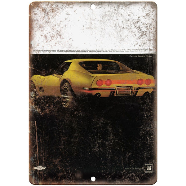 "1969 Chevy Corvette Chevrolet Ad 10"" x 7"" Vintage Look Reproduction Metal Sign"