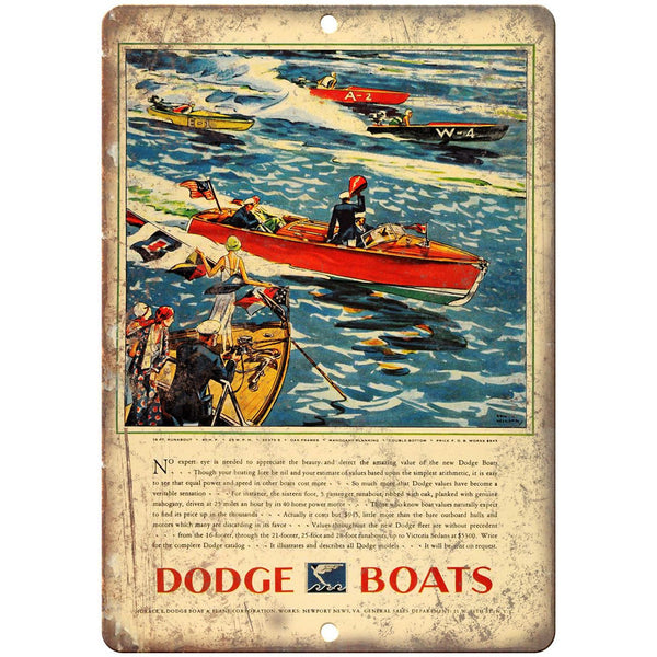 "Dodge Boats Vintage Boating Ad 10"" x 7"" Reproduction Metal Sign L29"