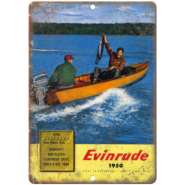 "1950 Evinrude Outboard Motor Boating Ad 10"" x 7"" Reproduction Metal Sign L28"