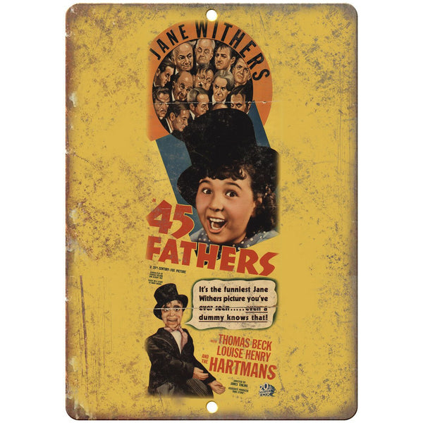 "45 Fathers Jane Withers Vintage Movie Ad 10"" X 7"" Reproduction Metal Sign I150"