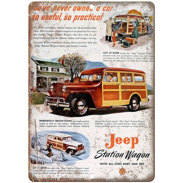 "Jeep Station Wagon Saturday Evening Post 10"" x 7"" Reproduction Metal Sign"