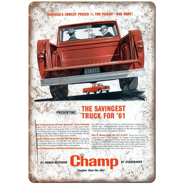 "1961 Studebaker Champ Spaceside Pickup Ad 10"" x 7"" Reproduction Metal Sign A430"