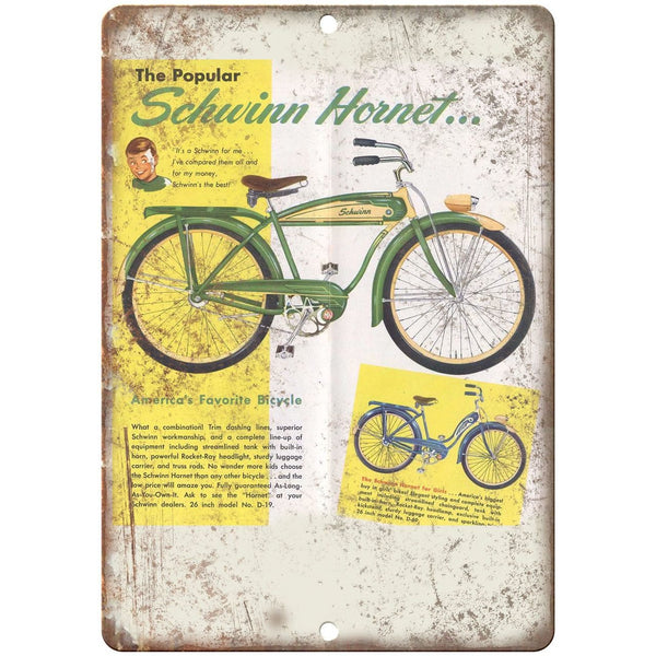 "1952 Schwinn Hornet Bicycle Ad - 10"" x 7"" Retro Look Metal Sign"