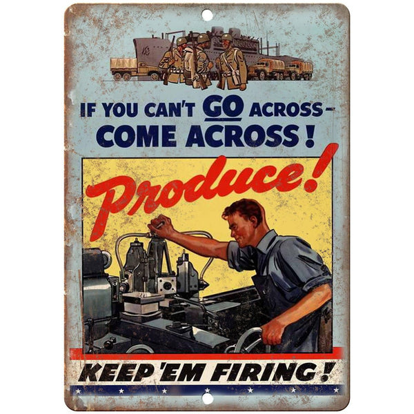 "Keep Em Firing Millitary Recruit Poster WW2 10""x7"" Reproduction Metal Sign M47"