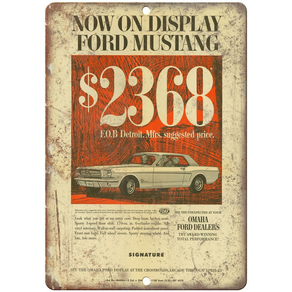 "1965 - Ford Mustang Dealer Sales Flyer - 10"" x 7"" Retro Look Metal Sign"