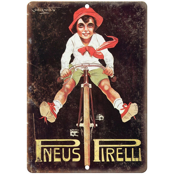"Pneus Pirelli Bicycle Vintage Ad 10"" x 7"" Reproduction Metal Sign B350"