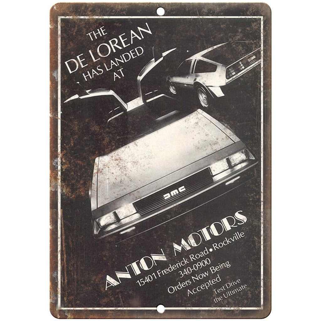 "DMC DeLorean Anton Motors Vintage Sales Sheet - 10"" x 7"" Retro Look Metal Sign"