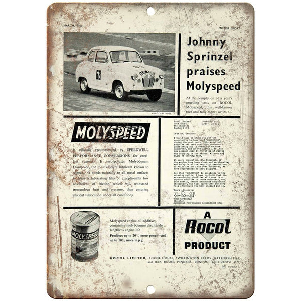"Molyspeed Motor Oil Vintage Ad 10"" X 7"" Reproduction Metal Sign A856"