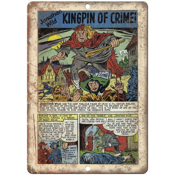 "Kingpin of Crime Jonathan Wild Comic Book 10"" X 7"" Reproduction Metal Sign J303"