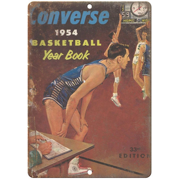 "1954 Converse Basketball Yearbook RARE 10"" x 7"" Reproduction Metal Sign"