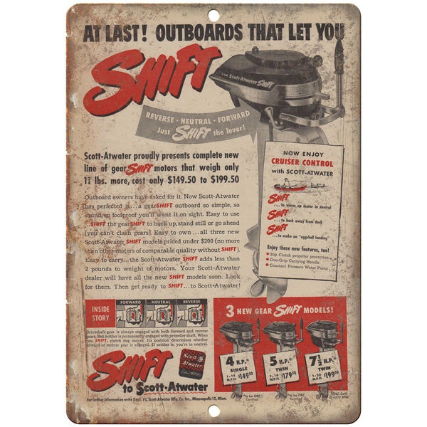 "Shift Outboard Motor Vintage Boating Ad 10"" x 7"" Reproduction Metal Sign L06"