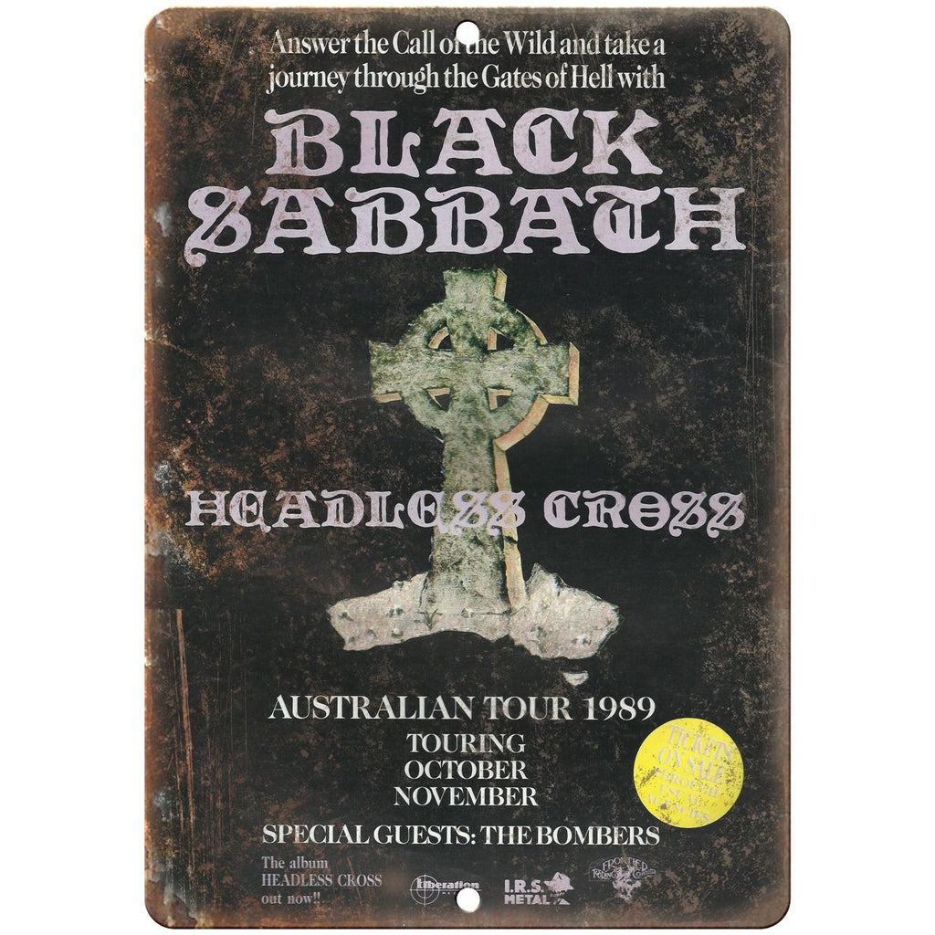 "1989 Black Sabbath Tour Poster 10"" x 7"" reproduction metal sign K03"