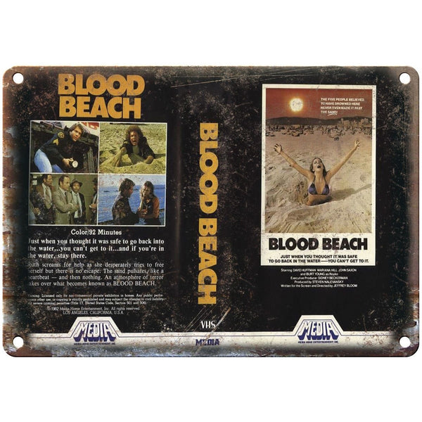 "Media Home Entertainment Blood Beach VHS 10"" X 7"" Reproduction Metal Sign V40"