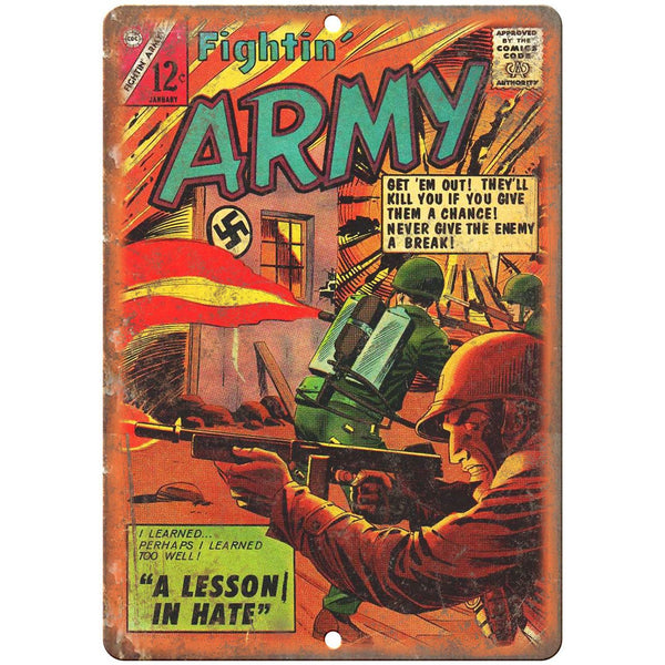 "Fightin' Army January Comic Book Cover Ad 10"" x 7"" Reproduction Metal Sign J609"