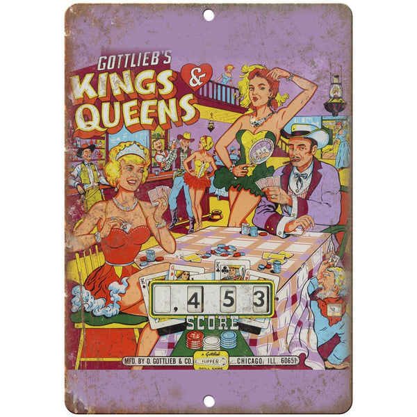 "Gottlieb's King & Queens Backglass Pinball 10"" x 7"" Reproduction Metal Sign G144"