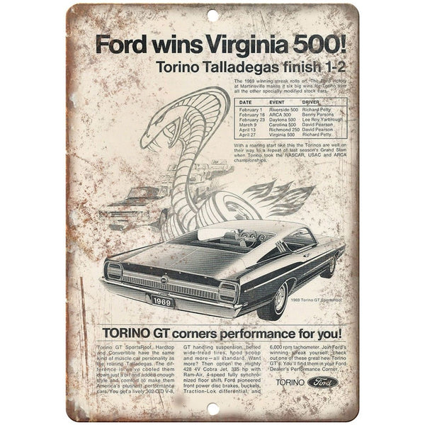 "1969 - Ford Torino GT Virginia 500 - 10"" x 7"" Retro Look Metal Sign"