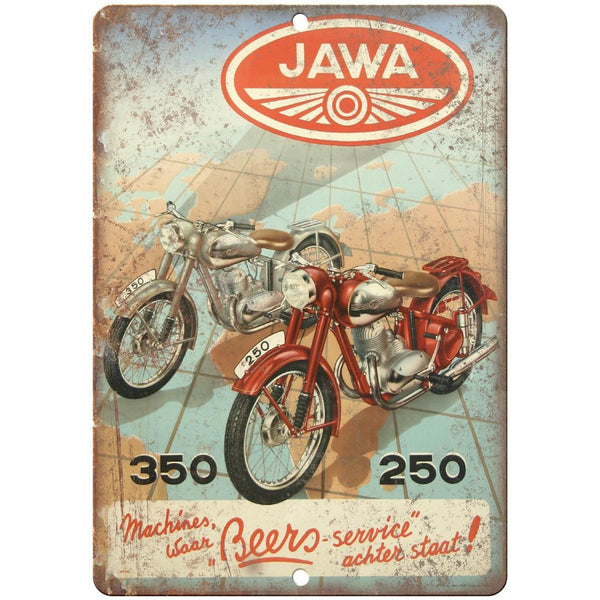 "Jawa Vintage Motorcycle Poster RARE 10"" x 7"" Reproduction Metal Sign F10"