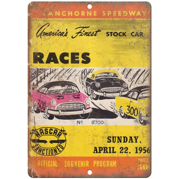 "1956 Longhorne Speedway NASCAR Program Cover 10""X7"" Reproduction Metal Sign A541"