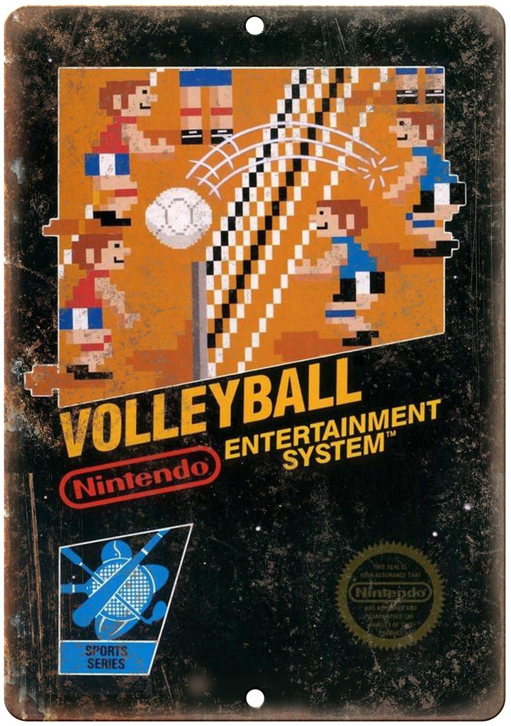Volleyball Nintendo Cartridge Cover Art Metal Sign