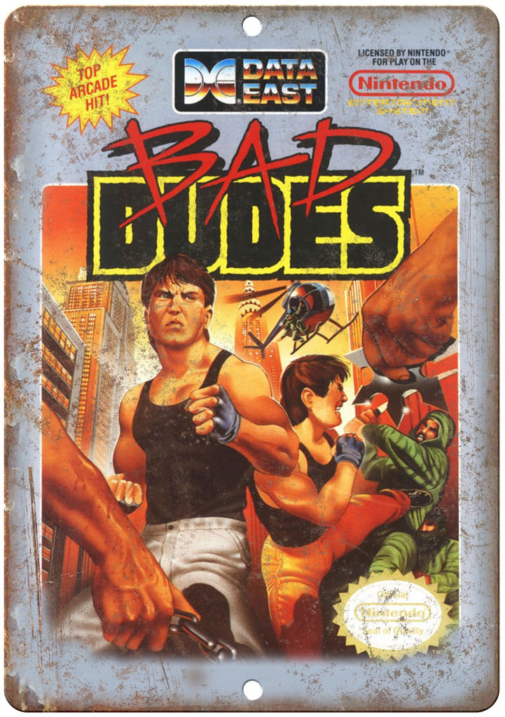 Bad Dudes Data East Nintendo Cartridge Cover Art Metal Sign